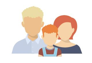 illustration of family with 3 persons